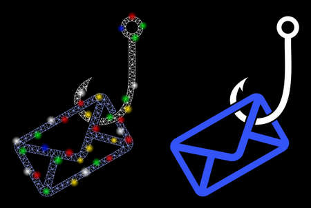 Bright mesh mail phishing hook icon with glow effect. Abstract illuminated model of mail phishing hook. Shiny wire frame polygonal mesh mail phishing hook icon. Ilustração