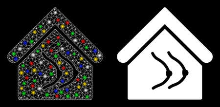 Flare mesh erotics house icon with glow effect. Abstract illuminated model of erotics house. Shiny wire carcass triangular mesh erotics house icon. Vector abstraction on a black background.