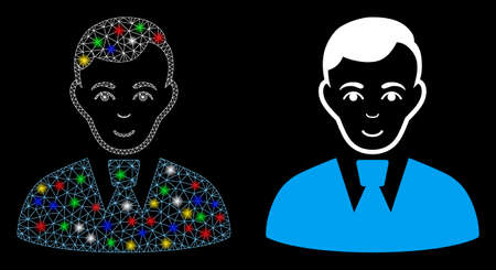 Bright mesh clerk guy icon with lightspot effect. Abstract illuminated model of clerk guy. Shiny wire frame polygonal mesh clerk guy icon. Vector abstraction on a black background.