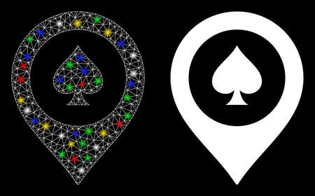 Bright mesh casino map marker icon with glow effect. Abstract illuminated model of casino map marker. Shiny wire frame triangular mesh casino map marker icon. Vector abstraction on a black background.