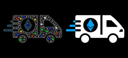 Bright mesh Ethereum express car icon with glare effect. Abstract illuminated model of Ethereum express car. Shiny wire carcass polygonal mesh Ethereum express car icon. 向量圖像