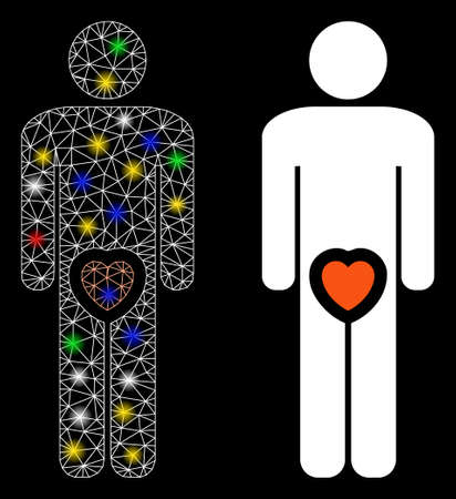Bright mesh male genitals love icon with glitter effect. Abstract illuminated model of male genitals love. Shiny wire carcass polygonal mesh male genitals love icon.