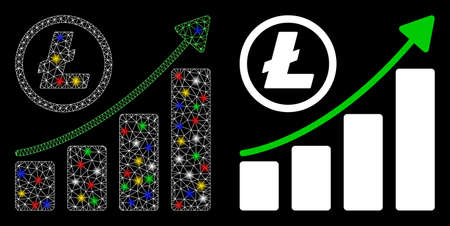 Glossy mesh Litecoin growing graph trend icon with lightspot effect. Abstract illuminated model of Litecoin growing graph trend. Shiny wire carcass polygonal mesh Litecoin growing graph trend icon.