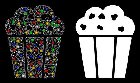 Bright mesh popcorn bucket icon with glare effect. Abstract illuminated model of popcorn bucket. Shiny wire frame triangular mesh popcorn bucket icon. Vector abstraction on a black background.