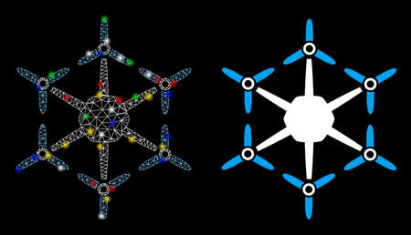 Glowing mesh hexacopter icon with glow effect. Abstract illuminated model of hexacopter. Shiny wire frame triangular mesh hexacopter icon. Vector abstraction on a black background. Illustration