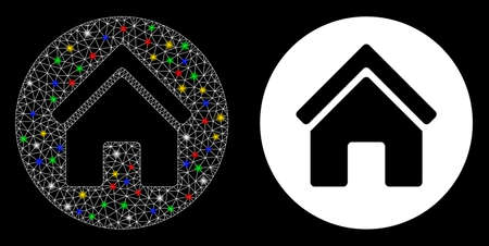 Glowing mesh real estate icon with glitter effect. Abstract illuminated model of real estate. Shiny wire frame polygonal mesh real estate icon. Vector abstraction on a black background.