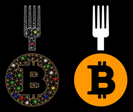 Glossy mesh Bitcoin fork icon with glow effect. Abstract illuminated model of Bitcoin fork. Shiny wire frame polygonal mesh Bitcoin fork icon. Vector abstraction on a black background. Vecteurs