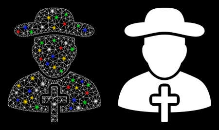 Glowing mesh Christian priest icon with glow effect. Abstract illuminated model of Christian priest. Shiny wire carcass triangular mesh Christian priest icon. Vector abstraction on a black background.