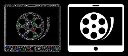 Glowing mesh phone video reel icon with glow effect. Abstract illuminated model of phone video reel. Shiny wire frame triangular mesh phone video reel icon. Vector abstraction on a black background.