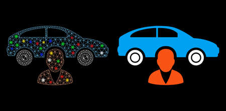 Glowing mesh car owner icon with sparkle effect. Abstract illuminated model of car owner. Shiny wire carcass triangular mesh car owner icon. Vector abstraction on a black background. Çizim