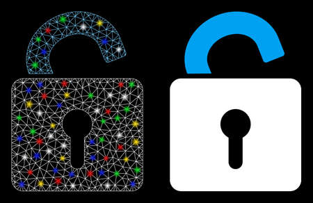 Glowing mesh open lock icon with sparkle effect. Abstract illuminated model of open lock. Shiny wire frame triangular mesh open lock icon. Vector abstraction on a black background.