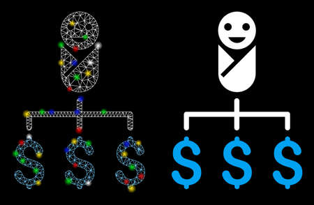 Glowing mesh kid expenses icon with glitter effect. Abstract illuminated model of kid expenses. Shiny wire frame polygonal mesh kid expenses icon. Vector abstraction on a black background. Çizim