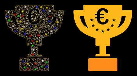 Bright mesh Euro award cup icon with glow effect. Abstract illuminated model of Euro award cup. Shiny wire frame triangular mesh Euro award cup icon. Vector abstraction on a black background.