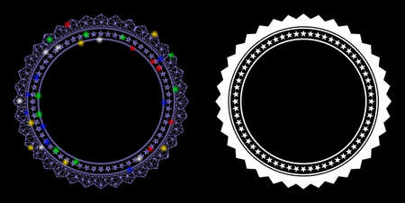 Glossy mesh rosette circular star frame icon with lightspot effect. Abstract illuminated model of rosette circular star frame. Shiny wire carcass polygonal mesh rosette circular star frame icon.