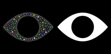 Glowing mesh blind eye icon with glitter effect. Abstract illuminated model of blind eye. Shiny wire carcass triangular mesh blind eye icon. Vector abstraction on a black background.
