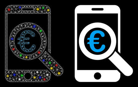 Glossy mesh Euro mobile research icon with sparkle effect. Abstract illuminated model of Euro mobile research. Shiny wire carcass polygonal mesh Euro mobile research icon. 向量圖像