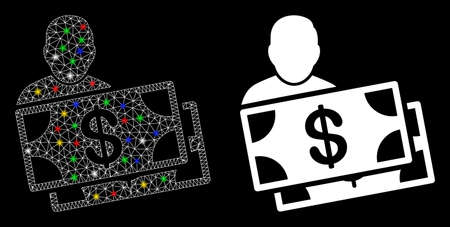 Flare mesh investor icon with glow effect. Abstract illuminated model of investor. Shiny wire frame polygonal mesh investor icon. Vector abstraction on a black background. 向量圖像