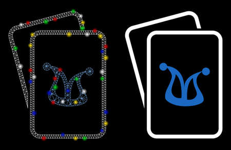 Glossy mesh joker gambling cards icon with glitter effect. Abstract illuminated model of joker gambling cards. Shiny wire frame triangular network joker gambling cards icon.