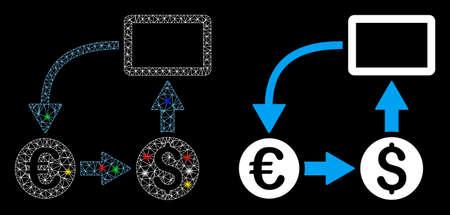 Glowing mesh cashflow Euro exchange icon with glare effect. Abstract illuminated model of cashflow Euro exchange. Shiny wire frame triangular network cashflow Euro exchange icon.