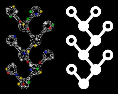 Glossy mesh binary tree icon with glow effect. Abstract illuminated model of binary tree. Shiny wire carcass triangular mesh binary tree icon. Vector abstraction on a black background. Illustration