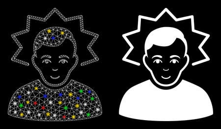 Glowing mesh inventor icon with sparkle effect. Abstract illuminated model of inventor. Shiny wire frame triangular mesh inventor icon. Vector abstraction on a black background. Illustration