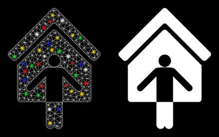 Glowing mesh house owner wellcome icon with glare effect. Abstract illuminated model of house owner wellcome. Shiny wire frame polygonal network house owner wellcome icon.