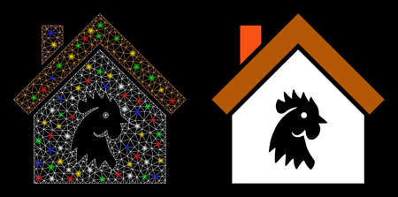 Glossy mesh cock house icon with sparkle effect. Abstract illuminated model of cock house. Shiny wire carcass polygonal mesh cock house icon. Vector abstraction on a black background.