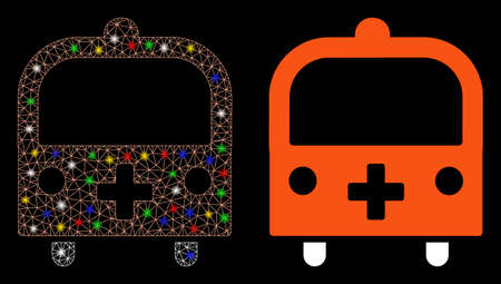 Bright mesh medical bus icon with glare effect. Abstract illuminated model of medical bus. Shiny wire frame polygonal mesh medical bus icon. Vector abstraction on a black background.