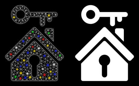 Glowing mesh home key icon with glitter effect. Abstract illuminated model of home key. Shiny wire frame polygonal mesh home key icon. Vector abstraction on a black background.