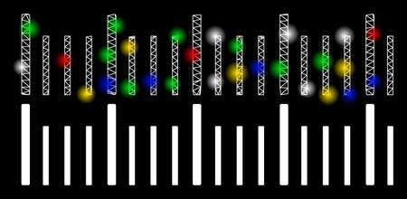 Icono de graduación de regla de malla brillante con efecto de deslumbramiento. Modelo iluminado abstracto de graduación de regla. Icono de graduación de regla de malla triangular de marco de alambre brillante. Abstracción de vector sobre fondo negro.