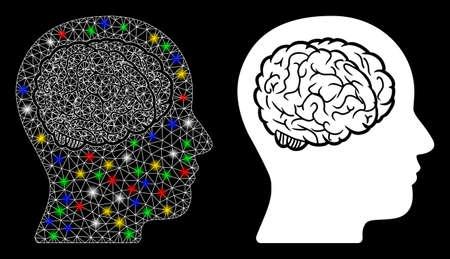 Icône de cerveau de tête de maille brillante avec effet de lueur. Modèle lumineux abstrait du cerveau de la tête. Icône de cerveau tête de réseau polygonale de carcasse de fil brillant. Abstraction vectorielle sur fond noir.