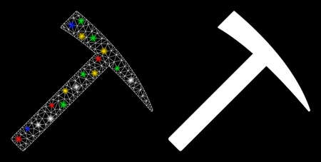 Glossy mesh mining hammer icon with glare effect. Abstract illuminated model of mining hammer. Shiny wire frame triangular mesh mining hammer icon. Vector abstraction on a black background. 向量圖像