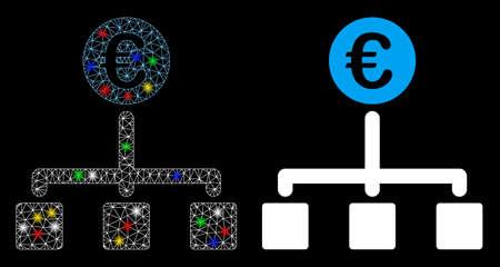 Icono de flujo de efectivo de Euro de malla de llamarada con efecto de brillo. Modelo iluminado abstracto de flujo de caja en euros. Icono de flujo de efectivo de Euro de red poligonal de carcasa de alambre brillante. Abstracción de vector sobre fondo negro.