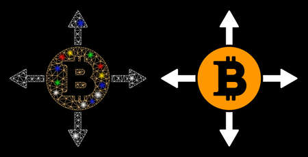 Glowing mesh Bitcoin directions icon with glow effect. Abstract illuminated model of Bitcoin directions. Shiny wire carcass triangular mesh Bitcoin directions icon. Ilustração