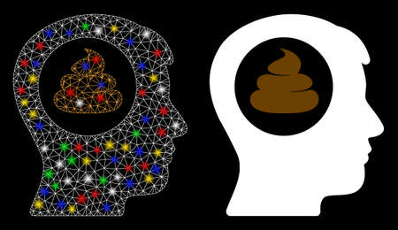 Glowing mesh shit idea head icon with glitter effect. Abstract illuminated model of shit idea head. Shiny wire frame triangular mesh shit idea head icon. Vector abstraction on a black background. Illustration