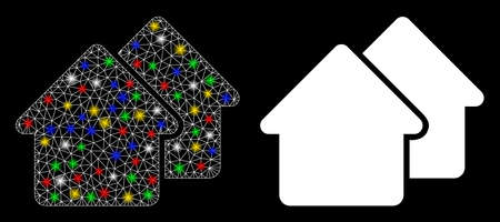 Bright mesh village icon with lightspot effect. Abstract illuminated model of village. Shiny wire frame triangular mesh village icon. Vector abstraction on a black background.