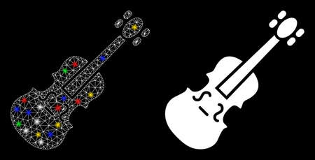 Bright mesh violin icon with sparkle effect. Abstract illuminated model of violin. Shiny wire carcass polygonal mesh violin icon. Vector abstraction on a black background.