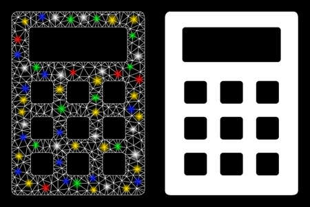 Glossy mesh calculator icon with glare effect. Abstract illuminated model of calculator. Shiny wire frame triangular mesh calculator icon. Vector abstraction on a black background.