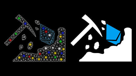 Glowing mesh Ethereum mining hammer icon with lightspot effect. Abstract illuminated model of Ethereum mining hammer. Shiny wire carcass polygonal mesh Ethereum mining hammer icon. 向量圖像