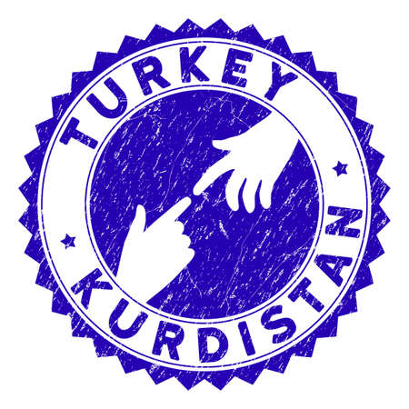 Connecting Turkey Kurdistan stamp seal. Blue vector round distress seal stamp with connecting hands for Turkey Kurdistan. Symbol of political collaboration, cooperation, partnership and conflicts.
