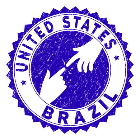 Connecting United States Brazil stamp seal. Blue vector rounded scratched seal stamp with connecting hands for United States Brazil. Symbol of political collaboration, cooperation, Çizim
