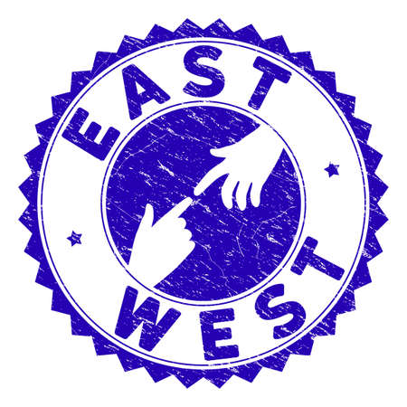 Connecting East West stamp. Blue vector round grunge seal stamp with connecting hands for East West. Symbol of political collaboration, cooperation, partnership and conflicts.
