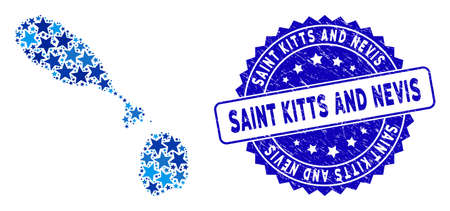 Blue Saint Kitts and Nevis map collage of stars, and distress rounded stamp seal. Abstract geographic plan in blue color tones. Vector Saint Kitts and Nevis map is designed from blue stars.