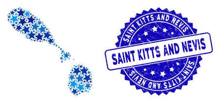 Blue Saint Kitts y Nevis mapa collage de estrellas y sello de sello redondeado de socorro. Plano geográfico abstracto en tonos de color azul. Vector mapa de Saint Kitts y Nevis está diseñado a partir de estrellas azules.