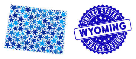 Blue Wyoming State map composition of stars, and textured rounded stamp. Abstract geographic plan in blue color tones. Vector Wyoming State map is formed of blue stars.
