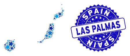 Blue Las Palmas Province map mosaic of stars, and textured round seal. Abstract territorial plan in blue color tinges. Vector Las Palmas Province map is designed of blue stars.