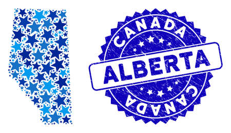 Blue Alberta Province map composition of stars, and textured rounded stamp. Abstract geographic plan in blue color hues. Vector Alberta Province map is organized of blue stars. 일러스트