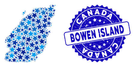 Blue Bowen Island map mosaic of stars, and distress rounded seal. Abstract territorial plan in blue color hues. Vector Bowen Island map is constructed of blue stars.