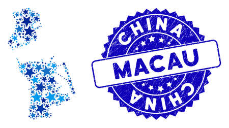 Blue Chinese Macau map collage of stars, and scratched round seal. Abstract geographic plan in blue color tinges. Vector Chinese Macau map is designed of blue stars.
