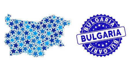 Blue Bulgaria map mosaic of stars, and distress rounded stamp seal. Abstract territorial plan in blue shades. Vector Bulgaria map is designed of blue stars.